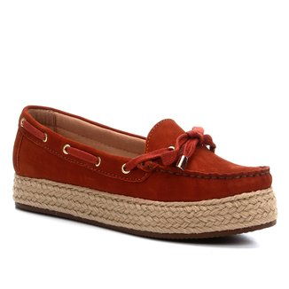 Mocassim Couro Shoestock Docksider Corda Flatform Feminino