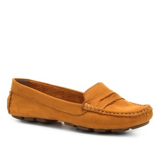 Mocassim Couro Shoestock Drive Nobuck Feminino