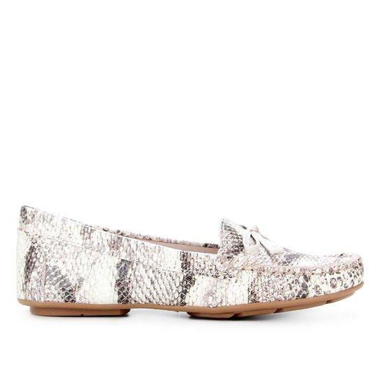 Mocassim Couro Shoestock Ester Cobra Feeling Feminino - Off White