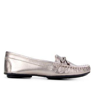 Mocassim Couro Shoestock Ester Metalizado Feminino