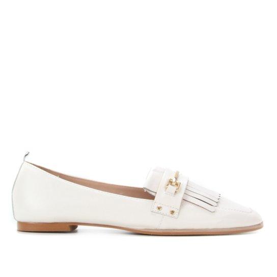 Mocassim Couro Shoestock Flat Franjas Feminino - Off White