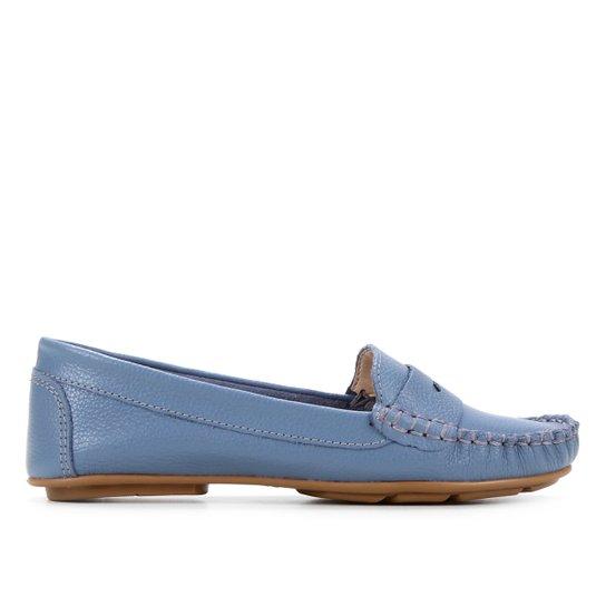Mocassim Couro Shoestock Floater Gravata Feminino - Azul