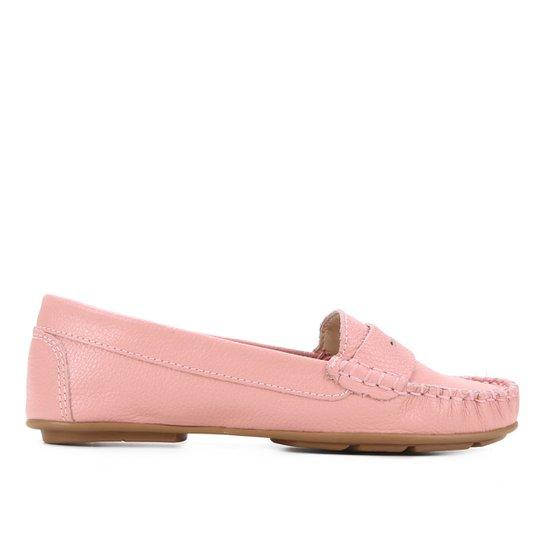 Mocassim Couro Shoestock Floater Gravata Feminino - Rosa
