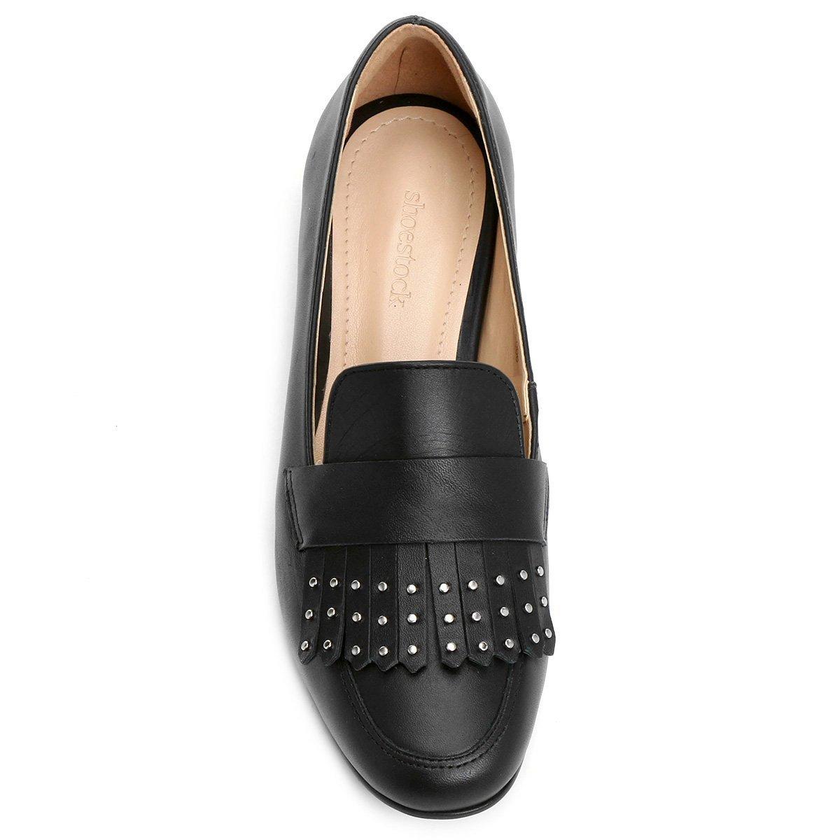 Shoestock Mocassim Couro Preto Couro Mocassim Feminina Apliques Franja ZtqdxaxnT