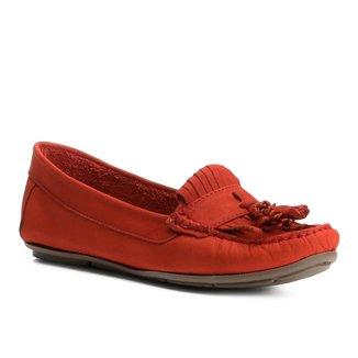 Mocassim Couro Shoestock Franja Feminino