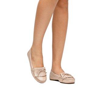 Mocassim Couro Shoestock Franjas Feminino