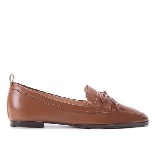 Mocassim Couro Shoestock Laço Feminino - Marrom