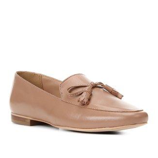 Mocassim Couro Shoestock Loafer Laço Feminino