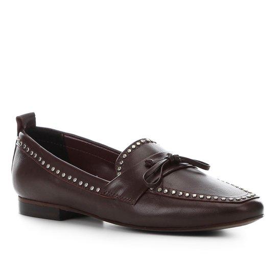 Mocassim Couro Shoestock Loafer Mini Tachas Feminino - Vinho