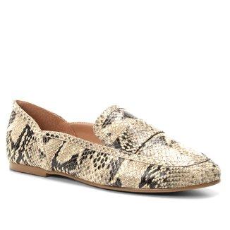 Mocassim Couro Shoestock Loafer Snake Feminino