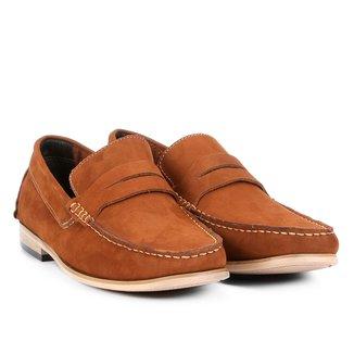 Mocassim Couro Shoestock Nobuck Gravata Masculino