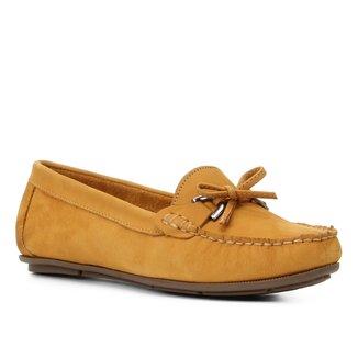 Mocassim Couro Shoestock Nobuck Laço Feminino