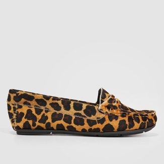 Mocassim Couro Shoestock Onça Feminino
