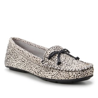 Mocassim Couro Shoestock Pelo Cheetah Feminino