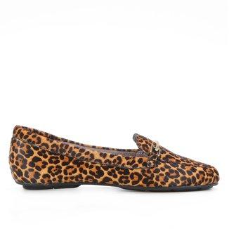 Mocassim Couro Shoestock Pelo Onça Bridão Feminino