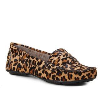 Mocassim Couro Shoestock Pelo Onça Feminino