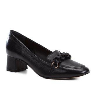 Mocassim Couro Shoestock Salto Bloco Trança Feminino