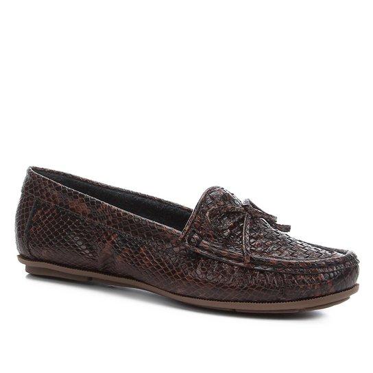 Mocassim Couro Shoestock Tramado Laço Feminino - Marrom