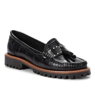 Mocassim Couro Shoestock Tratorado Pingente Feminino
