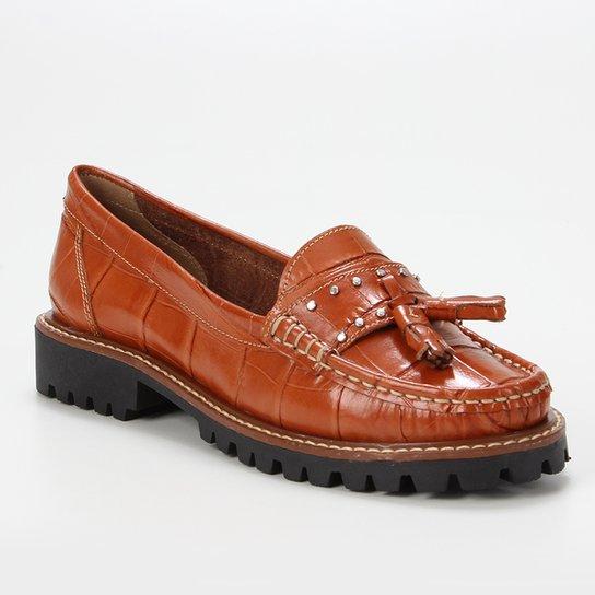 Mocassim Couro Shoestock Tratorado Pingente Feminino - Caramelo