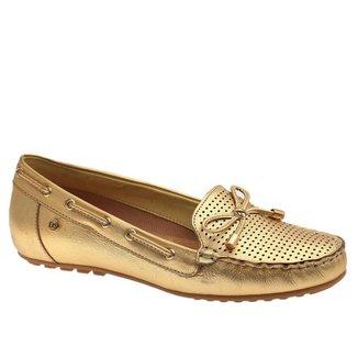 Mocassim Doctor Shoes Couro Dourado