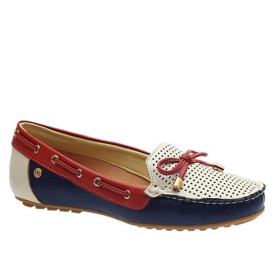 Mocassim Doctor Shoes Couro Feminino - Marinho