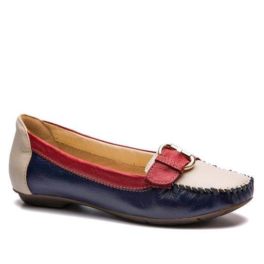 Mocassim Doctor Shoes Extra Comfort - Azul Petróleo+Branco