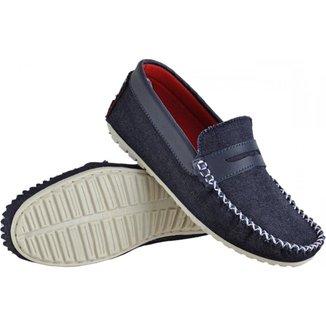 Mocassim Infantil Just Walk Menino Jeans Casual Conforto