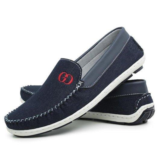 Mocassim Jeans Liso Conforto Dia A Dia Gouveia Costa Masculino - Azul