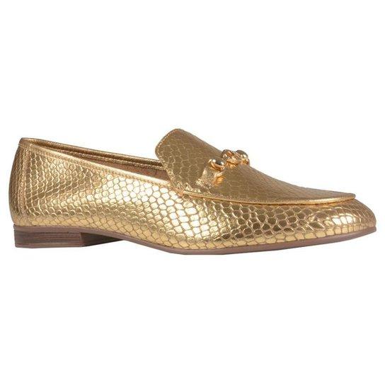 Mocassim Loafer Jorge Bischoff Couro Metalizado V21 Feminino - Dourado