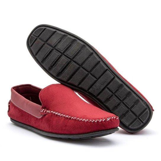 Mocassim Masculino Social Casual Clássico - Caramelo - 44 - Vermelho