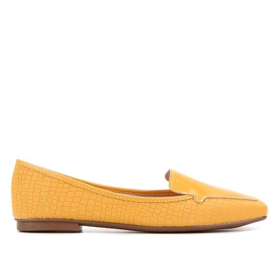 Mocassim Moleca Croco Verniz Feminino - Amarelo