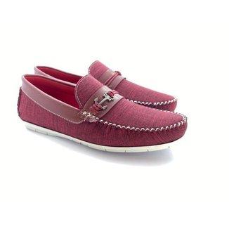 Mocassim Sapato Masculino Casual Detalhe Bridon Metal c/ Solado Confortável