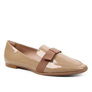 Mocassim Shoestock Verniz Laço Naked Feminino