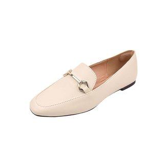 Mocassim Uzze Sapatos Confort Rasteirinha Calce Fácil Off White