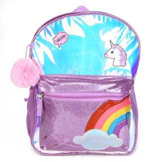 Mochila Clio Glitter Unicórnio Arco-Íris