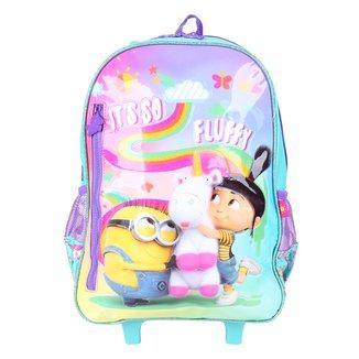 Mochila Escolar Infantil Clio Style Carrinho Minions Fluffy Feminina