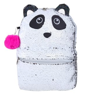 Mochila Escolar Infantil Clio Style Paetê Reversível Panda Feminina