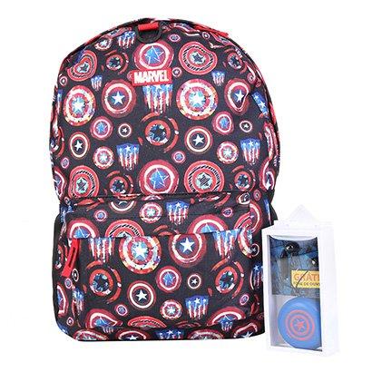 Mochila Escolar Infantil Marvel DMW Capitão América + Fone de Ouvido