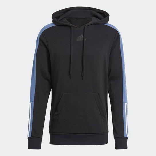Moletom Adidas Color Block Linear Canguru Masculino - Preto