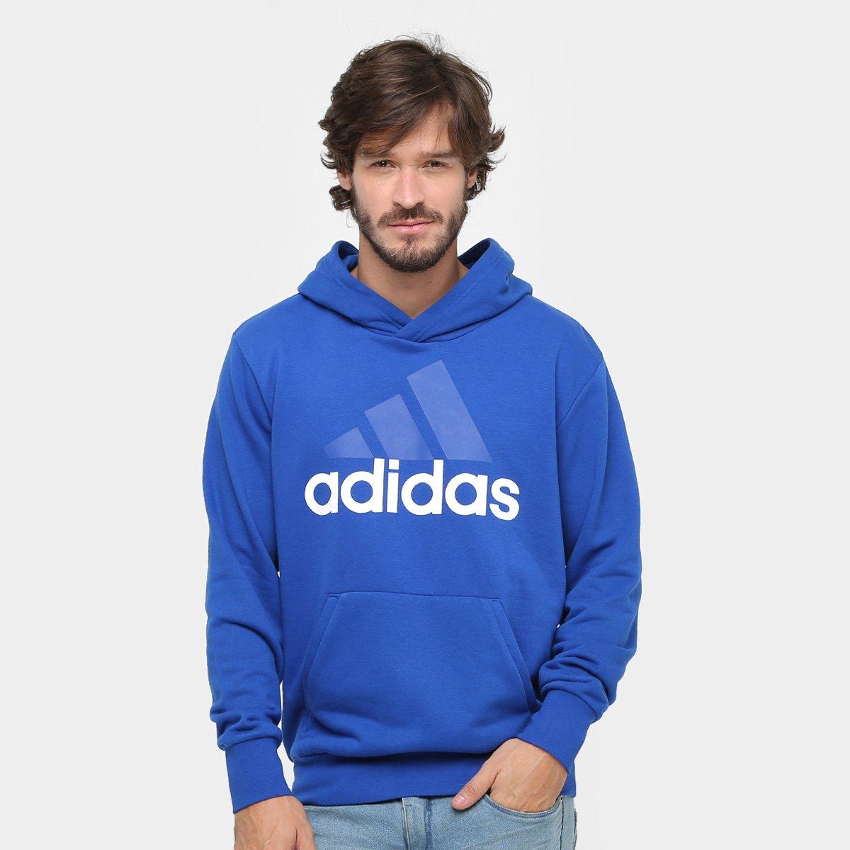 Moletom Adidas Essentials Linear Pullover French Terry C  Capuz - Azul e  Branco - Compre Agora  5acd1ef1225