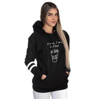 Moletom Algodão Feminino Coffee Capuz Bolso Canguru Casual