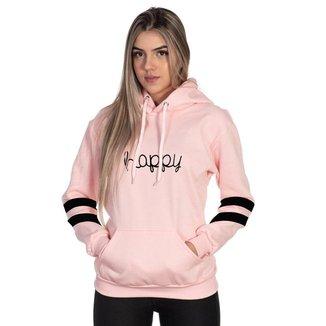 Moletom Algodão Feminino Happy Capuz Bolso Canguru Casual