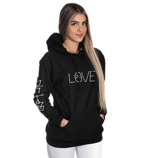 Moletom Algodão Feminino Love Capuz Bolso Canguru Casual