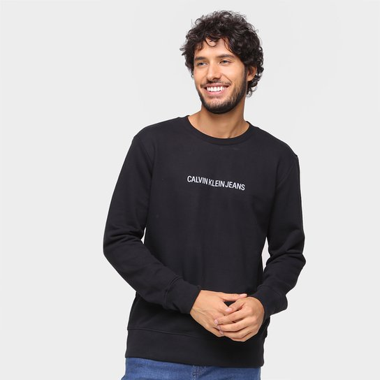 Moletom Calvin Klein jeans Básico Masculino - Preto