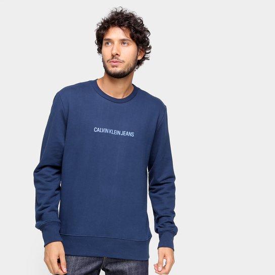 Moletom Calvin Klein jeans Básico Masculino - Marinho