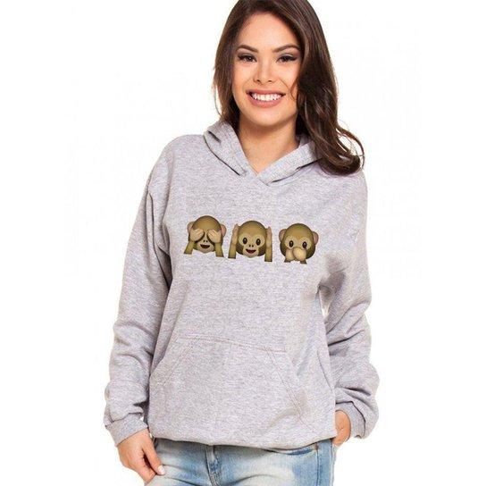 Moletom Canguru Feminino Divertido Emoji Macacos ER_139 - Cinza