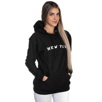 Moletom Canguru Feminino New York Capuz Estampado Casual
