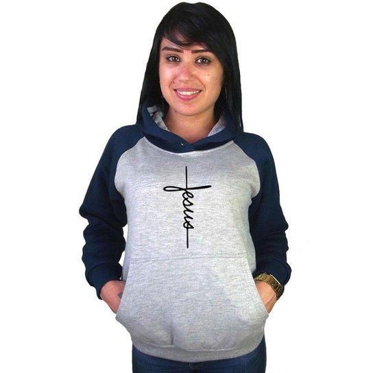 Moletom Canguru Feminino Raglan Cristão Religioso Jesus - Azul Escuro