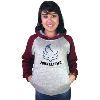 Moletom Canguru Feminino Raglan Faculdade Curso Jornalismo